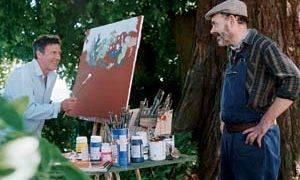 Daniel Auteuil (Le peintre dit Dupinceau) en Jean-Pierre Darroussin (Le jardinier Léo dit Dujardin)