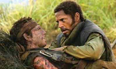 Robert Downey Jr. (Kirk Lazarus) en Ben Stiller (Tugg Speedman)