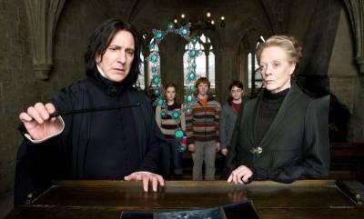 Alan Rickman (Professor Severus Snape) en Maggie Smith (Professor Minerva McGonagall)