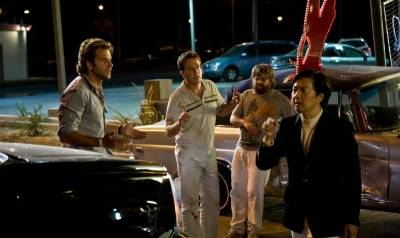Bradley Cooper (Phil Wenneck), Zach Galifianakis (Alan Garner), Ed Helms (Stu Price) en Ken Jeong (Mr. Chow)