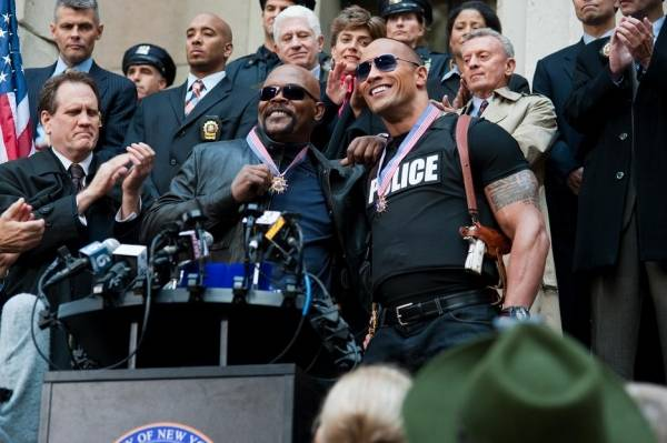 Samuel L. Jackson (P.K. Highsmith) en Dwayne Johnson (Christopher Danson)