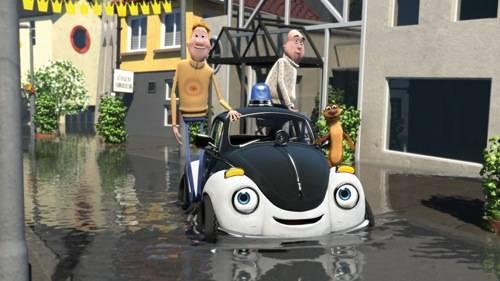 Pelle Politibil går i vannet filmstill