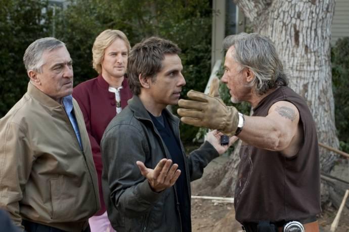 Robert De Niro (Jack Byrnes), Harvey Keitel, Ben Stiller (Greg Focker) en Owen Wilson (Kevin Rawley)