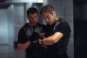 George Clooney (Danny Ocean) en Matt Damon (Linus Caldwell)