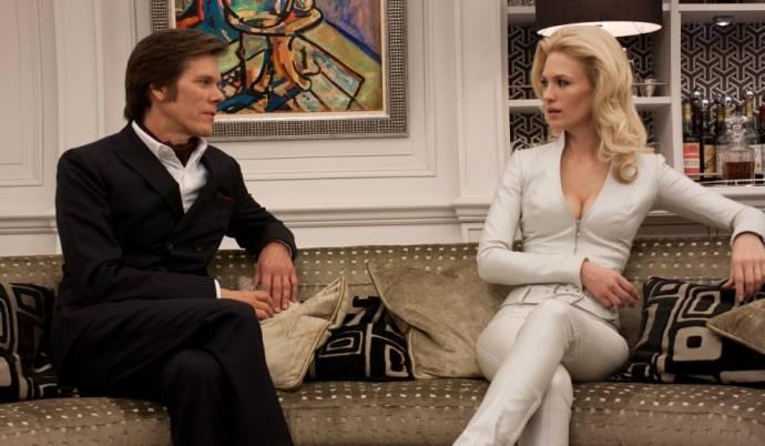 Kevin Bacon (Sebastian Shaw) en January Jones (I) (Emma Frost)
