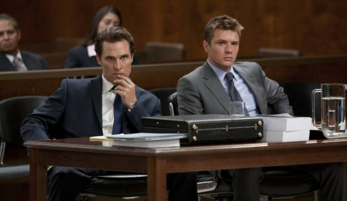 Matthew McConaughey (Mick Haller) en Ryan Phillippe (Louis Roulet) in The Lincoln Lawyer