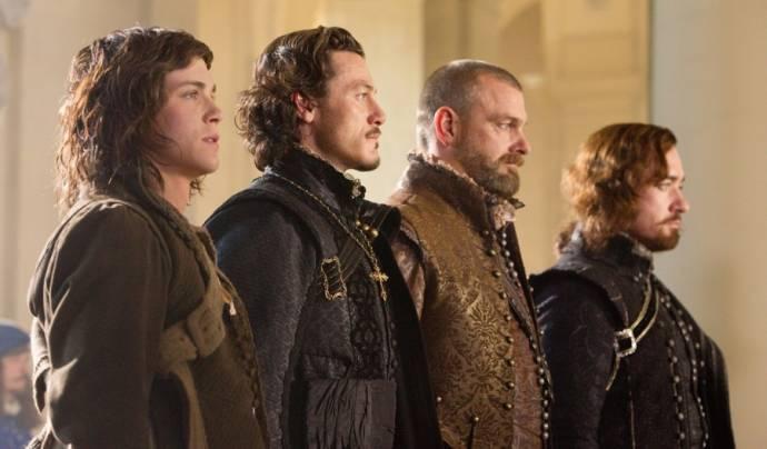 Logan Lerman (D'Artagnan), Luke Evans (Aramis), Ray Stevenson (Porthos) en Matthew Macfadyen (Athos)