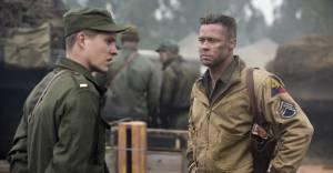 Fury: Logan Lerman (Norman Ellison) en Brad Pitt (Wardaddy)