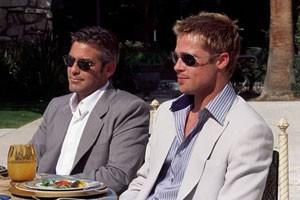 George Clooney en Brad Pitt in Ocean's Eleven