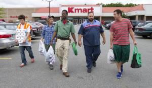 Grown Ups 2: Kevin James (Eric Lamonsoff), Chris Rock (Kurt McKenzie), Adam Sandler (Lenny Feder) en David Spade (Marcus Higgins)