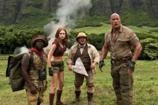 Kevin Hart, Karen Gillan, Jack Black en Dwayne Johnson in Jumanji: Welcome to the Jungle