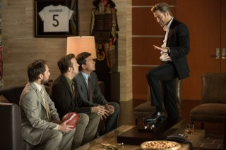 Charlie Day, Jason Sudeikis, Jason Bateman en Chris Pine in Horrible Bosses 2