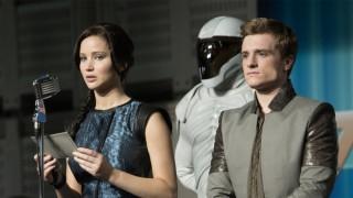 Jennifer Lawrence en Josh Hutcherson in The Hunger Games: Catching Fire