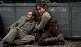 Jude Law en Robert Downey Jr. in Sherlock Holmes: A Game of Shadows