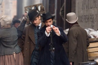Robert Downey Jr. en Jude Law in Sherlock Holmes