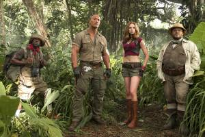 Jumanji: Welcome to the Jungle 3D: Kevin Hart (Moose Finbar), Dwayne Johnson (Dr. Smolder Bravestone), Karen Gillan (Ruby Roundhouse) en Jack Black (Professor Shelly Oberon)