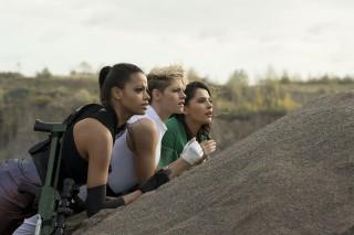 Ella Balinska, Kristen Stewart en Naomi Scott in Charlie's Angels