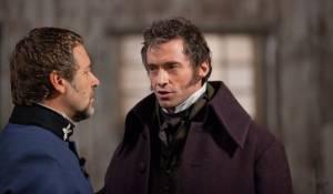 Russell Crowe (Javert) en Hugh Jackman (Jean Valjean)