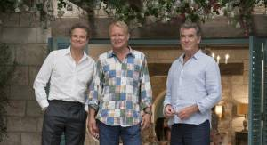 Colin Firth (Harry), Stellan Skarsgård (Bill) en Pierce Brosnan (Sam)