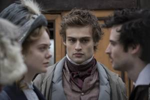 Mary Shelley: Elle Fanning (Mary Shelley), Douglas Booth (Percy Shelley) en Tom Sturridge (Lord Byron)