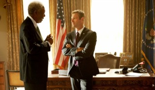Morgan Freeman en Aaron Eckhart in Olympus Has Fallen