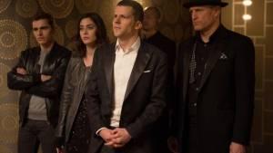 Now You See Me 2: Dave Franco (Jack Wilder), Lizzy Caplan (Lula), Jesse Eisenberg (J. Daniel Atlas) en Woody Harrelson (Merritt McKinney)
