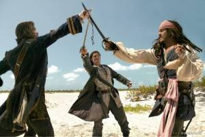 Orlando Bloom en Johnny Depp in Pirates of the Caribbean: Dead Man's Chest