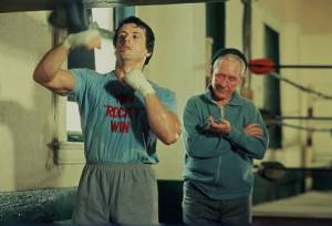 Rocky: Burgess Meredith (Mickey Goldmill) en Sylvester Stallone (Rocky Balboa)