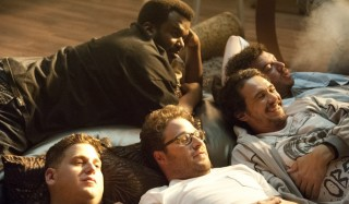 Jonah Hill, Seth Rogen, Craig Robinson, James Franco en Danny R. McBride in This Is the End