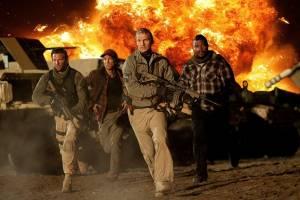 The A-Team: Quinton 'Rampage' Jackson (Cpl. Bosco 'B.A.' Baracus), Bradley Cooper (Lt. Templeton 'Faceman' Peck), Sharlto Copley (Murdock) en Liam Neeson (Col. John 'Hannibal' Smith)