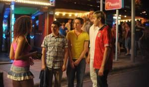 The Inbetweeners Movie: Simon Bird (Will McKenzie), Joe Thomas (Simon Cooper), Blake Harrison (Neil Sutherland) en James Buckley (Jay Cartwright)