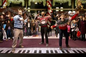 The Night Before: Seth Rogen (Isaac), Anthony Mackie (Chris) en Joseph Gordon-Levitt (Ethan)