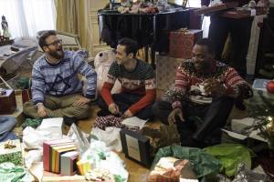 The Night Before: Seth Rogen (Isaac), Joseph Gordon-Levitt (Ethan) en Anthony Mackie (Chris)