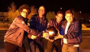 The Watch: Richard Ayoade (Jamarcus), Vince Vaughn (Bob), Ben Stiller (Evan) en Jonah Hill (Franklin)