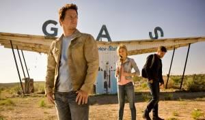 Transformers: Age of Extinction: Mark Wahlberg (Cade Yeager), Nicola Peltz (Tessa Yeager) en Jack Reynor (Shane)