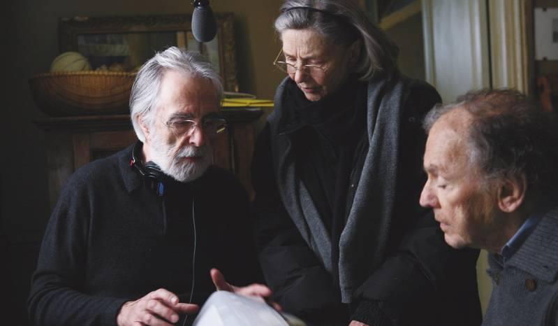 Michael Haneke op de set van Amour
