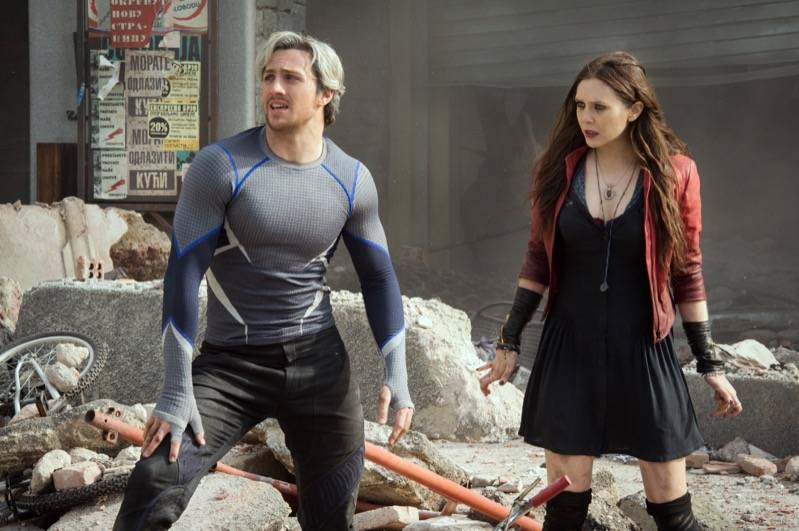 Marvel's Avengers: Age Of Ultron..Quicksilver/Pietro Maximoff (Aaron Taylor-Johnson) and Scarlet Witch/Wanda Maximoff (Elizabeth Olsen)..Ph: Jay Maidment..©Marvel 2015