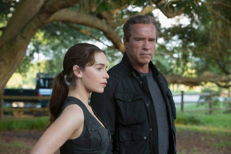 Emilia Clarke plays Sarah Connor and Arnold Schwarzenegger plays the Terminator in TERMINATOR GENISYS from Paramount Pictures and Skydance Productions., ? 2015 Paramount Pictures. All Rights Reserved.
