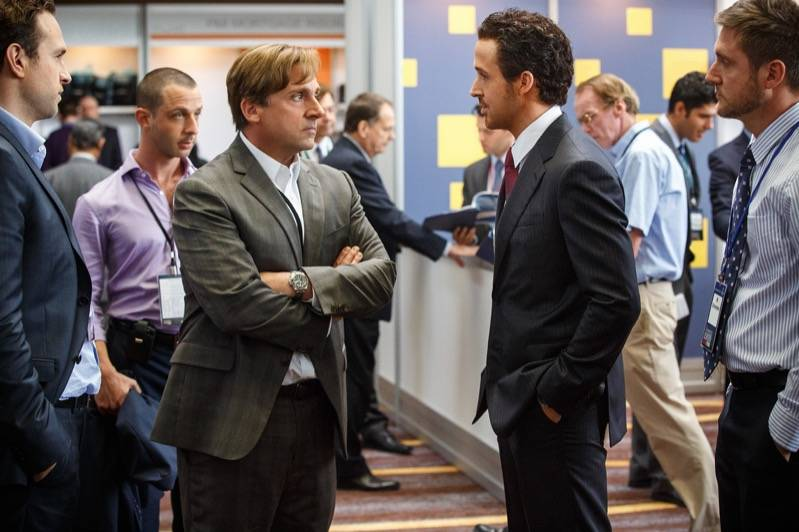 Steve Carell en Ryan Gosling plays in The Big Short.