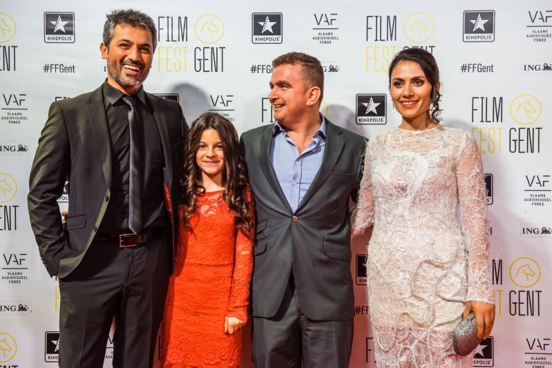 Tijdens de première van 'Zagros' V.l.n.r. Feyyaz Duman, Daria Hachem Mohamed Gulli, Sahim Omar Kalifa, Halima Ilter © 2017 Jerroen Willems | Film Fest Gent