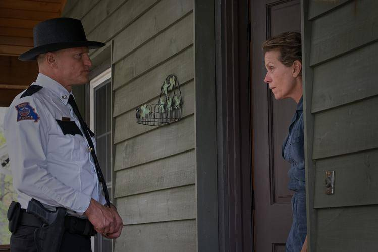 Woody Harrelson and Frances McDormand in the film Three Billboards Outside Ebbing, Missouri. 