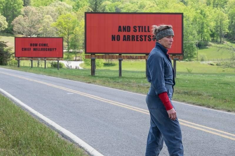 Frances McDormand voor haar billboards.