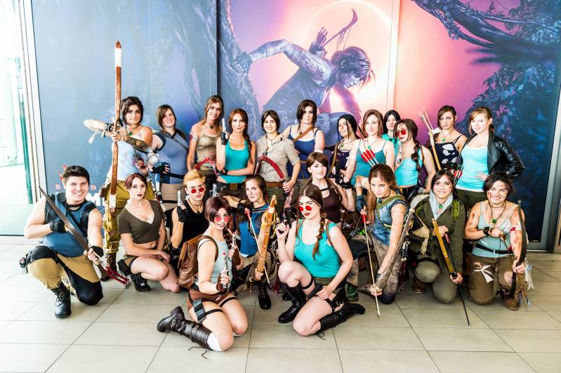 15-09-2018, Utrecht, Nederland: Lara Croft - Tomb Raider bij Shadow of The Tomb Raider in Centraal Station te Utrecht., Fotopersbureau HCA