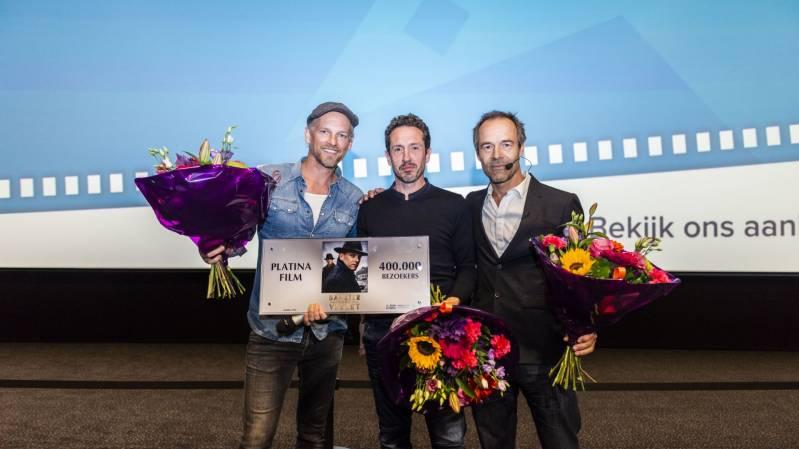 Hoofdrolspelers Barry Atsma en Jacob Derwig en regisseur Joram Lürsen © 2018 Nederlands Film Festival