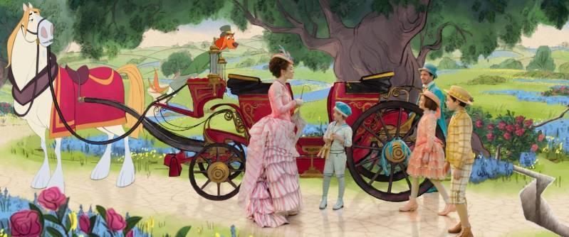 Emily Blunt, Joel Dawson, Lin-Manuel Miranda, Pixie Davies en Nathanael Saleh in Mary Poppins Returns
