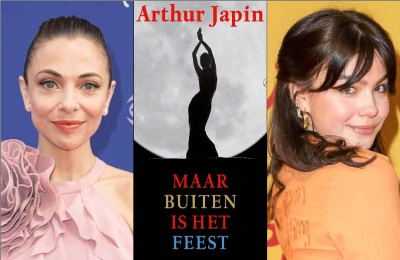 Links Georgina Verbaan, rechts Abbey Hoes e midden omslag roman 'Maar buiten is het feest' © 2019 Foto's ArjoFrank Fotografie, omslag AP