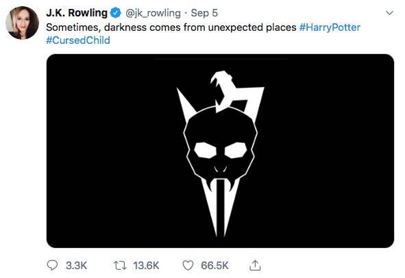 Tweet van J.K. Rowling zorgt voor wilde speculaties: het betreft een nieuw aangepaste logo van het Broadwaystuk © J.K. Rowling