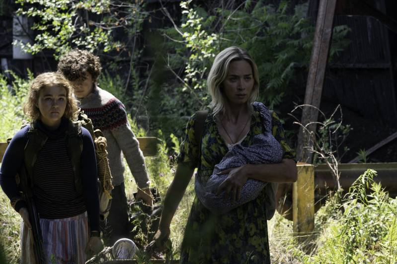 ?L-r, Regan (Millicent Simmonds), Marcus (Noah Jupe) and Evelyn (Emily Blunt) brave the unknown in A Quiet Place Part II.?, © 2019 Paramount Pictures. All Rights Reserved